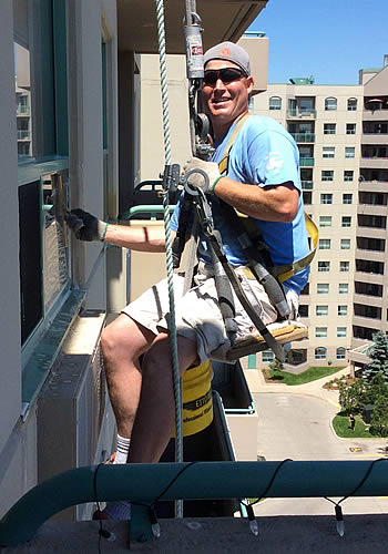Window cleaning in action
